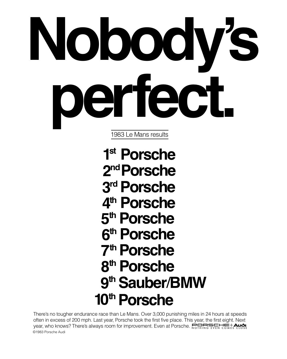 The Best Porsche Ads of All Time: Nobody's Perfect